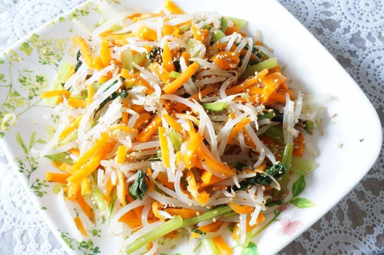 にんじん、小松菜、もやしのナムル