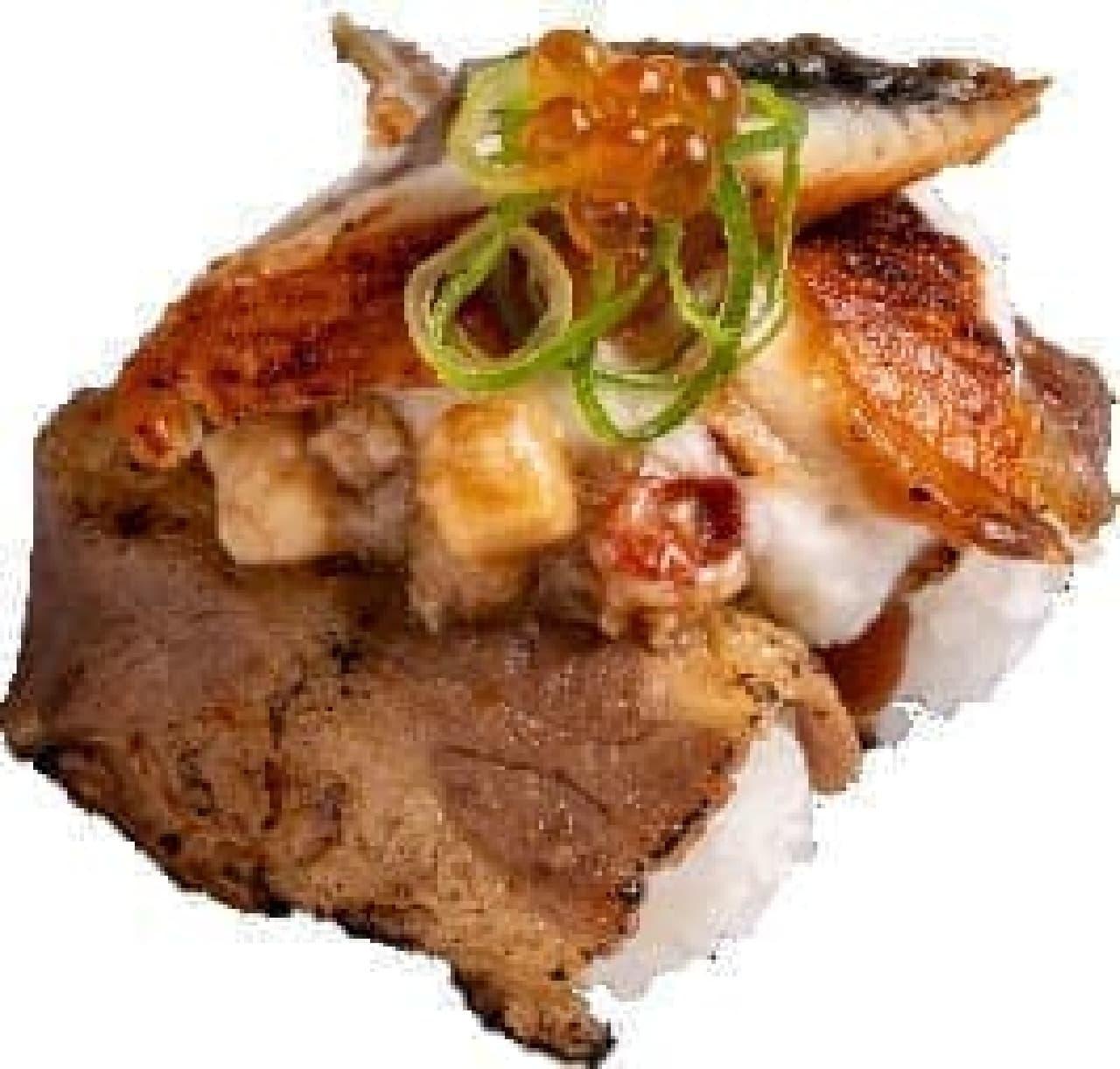 かっぱ寿司「うなとろ牛スタミナ盛り」