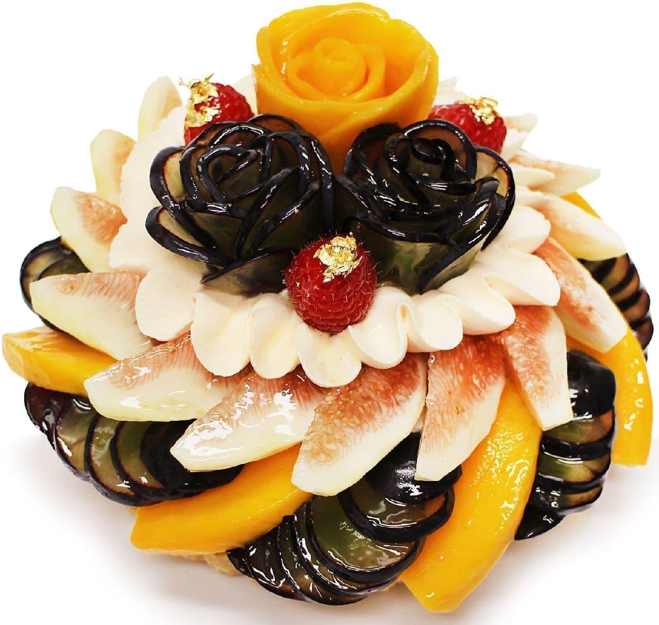 カフェコムサ「ぶどうとマンゴーのケーキ」