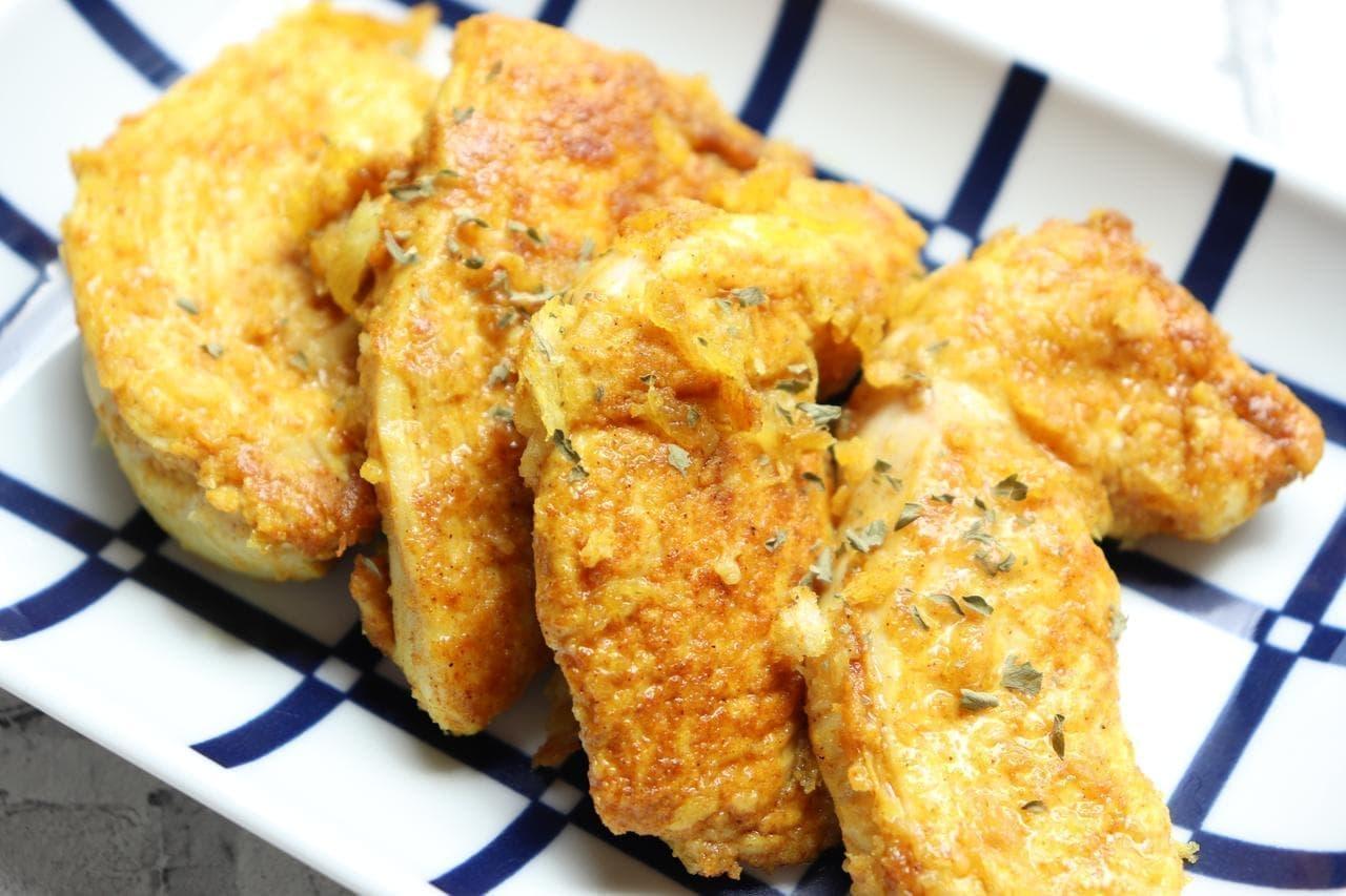 鶏むね肉のカレーチーズパン粉焼き