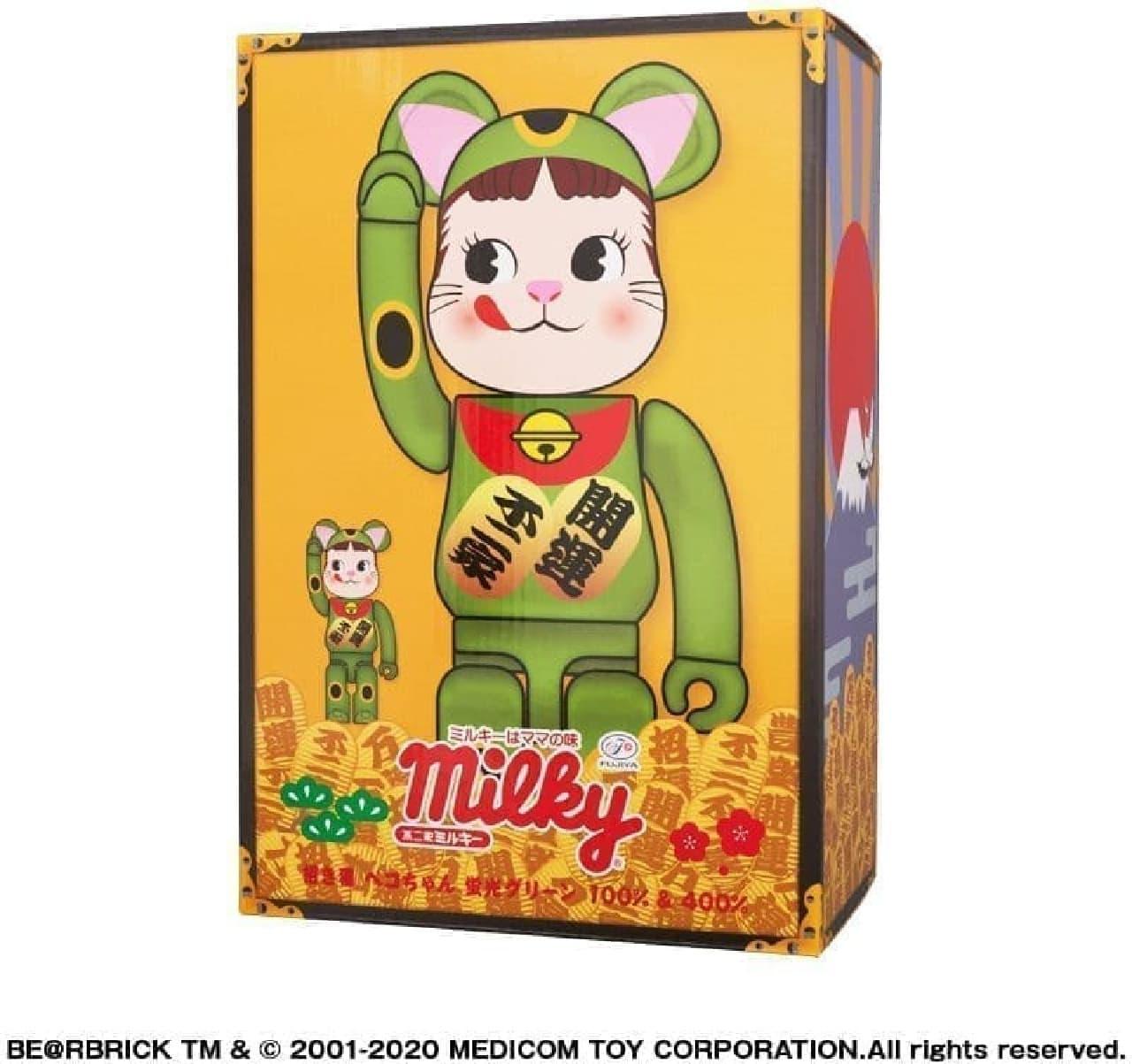 BE@RBRICK 招き猫 ペコちゃん 蛍光グリーン 100% & 400%
