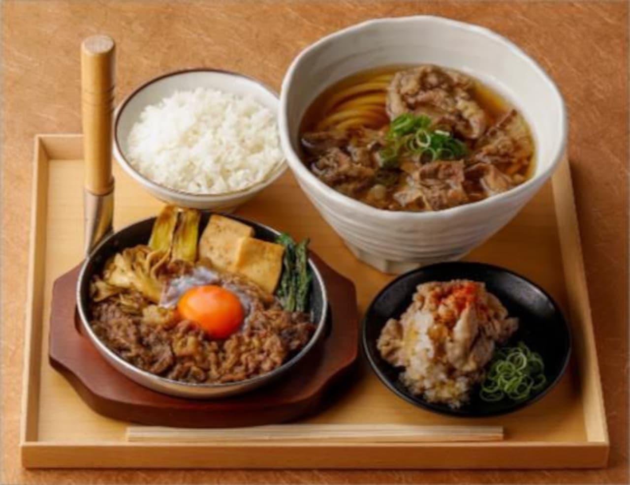丸亀製麺で「神戸牛すき焼きうどん」「神戸牛づくし膳」