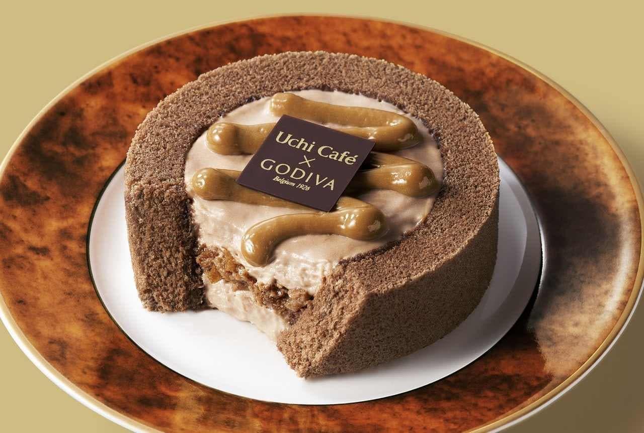 ローソン「Uchi Cafe×GODIVA キャラメルショコラロールケーキ」