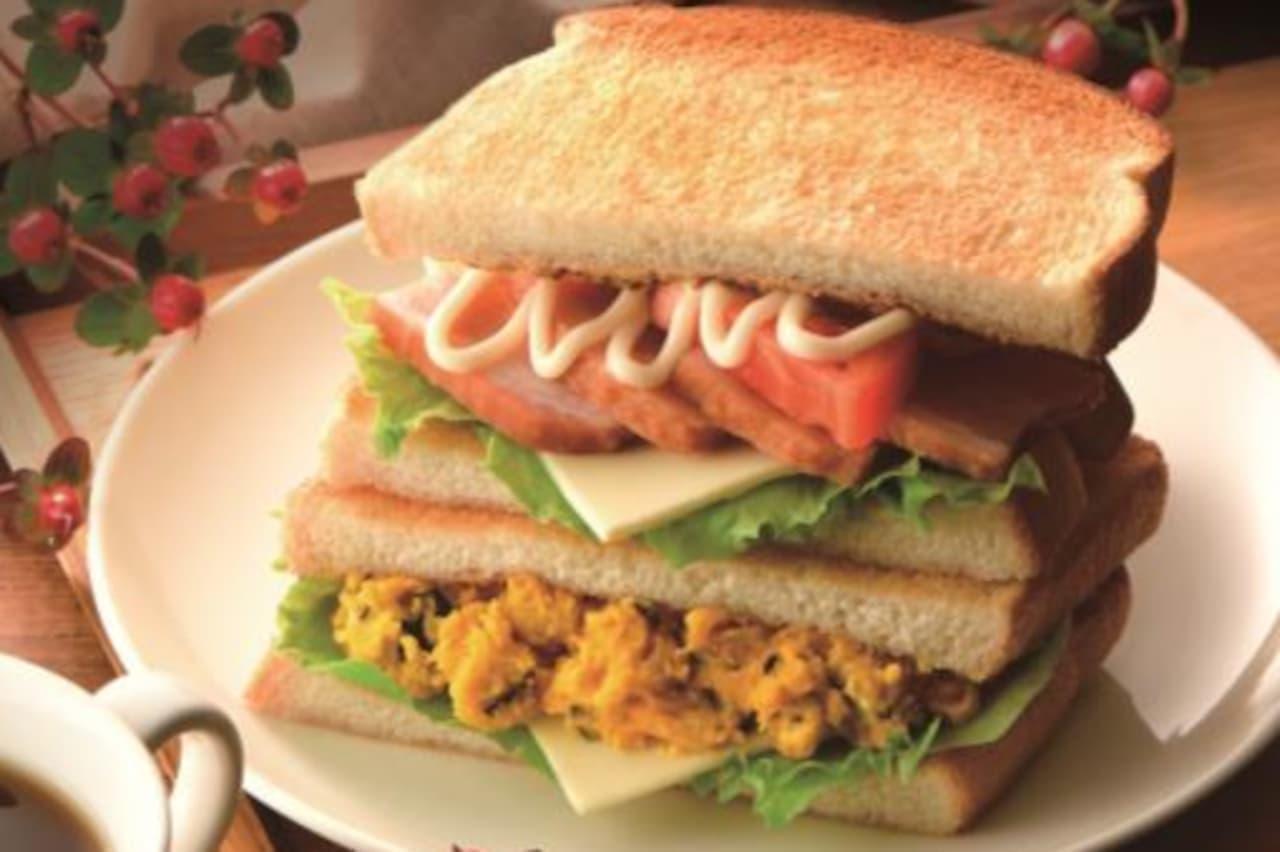 カフェ・ド・クリエ「2つのサンドBLTとパンプキンチーズ」