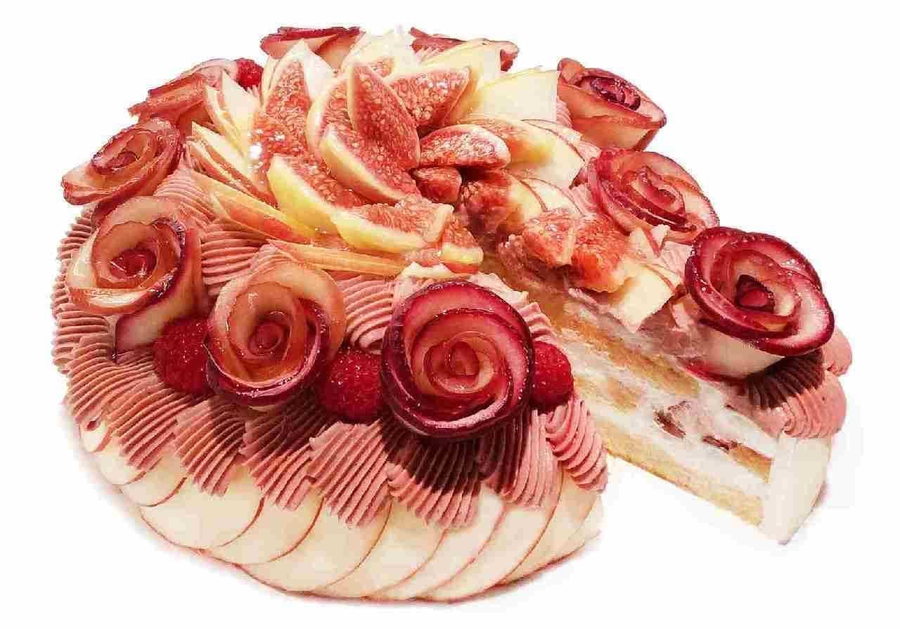 カフェコムサ「アップルローズのモンブランショートケーキ」
