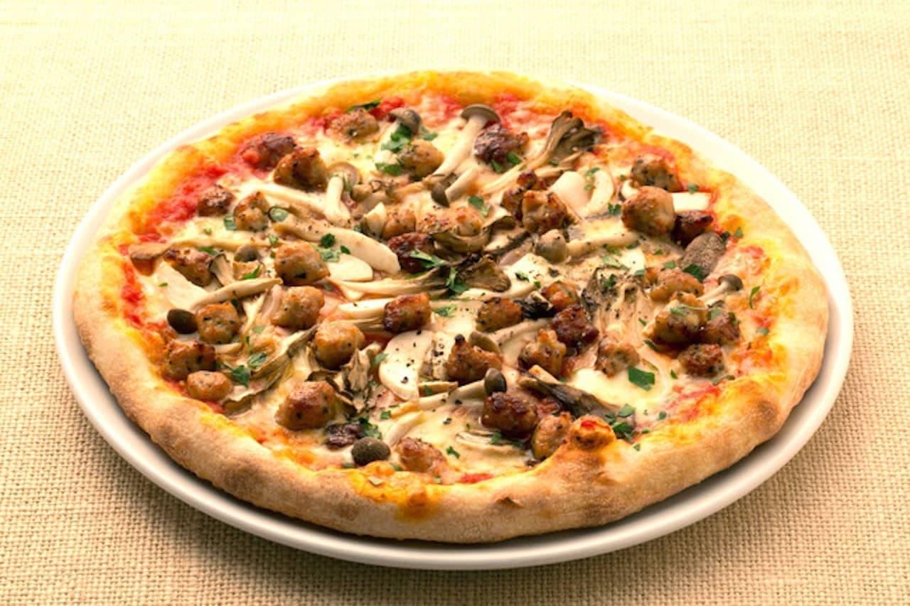 カプリチョーザ「トリュフ薫る3種のキノコとサルシッチャのピッツァ」