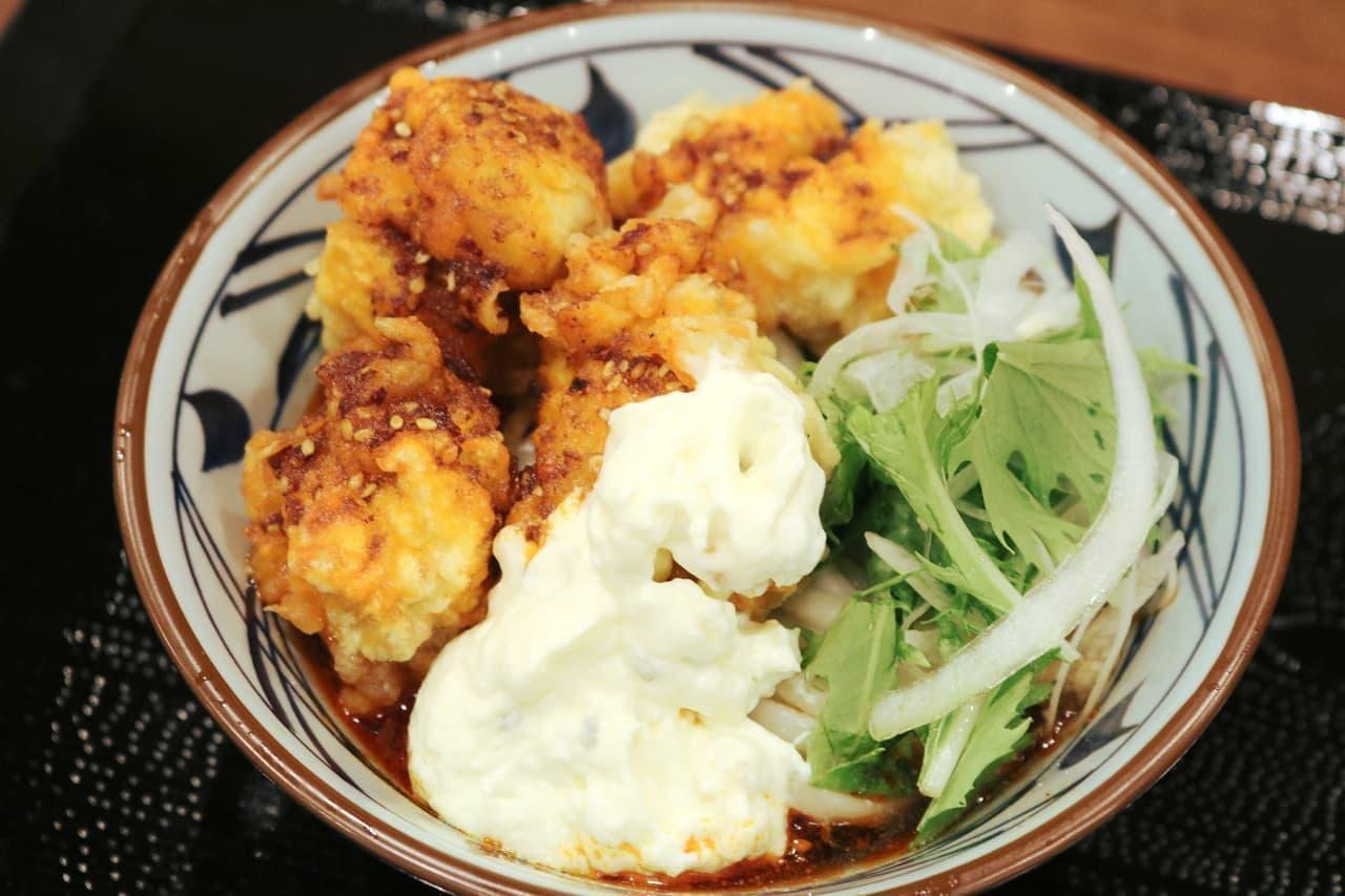 丸亀製麺の「赤タル鶏天ぶっかけうどん」