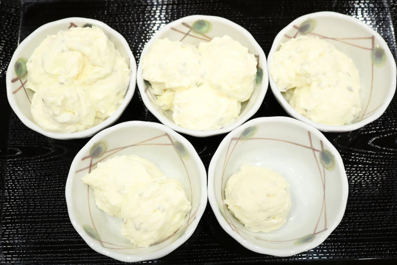 丸亀製麺の「タルタルソース」。左上から順に、5倍、4倍、3倍、2倍、1倍
