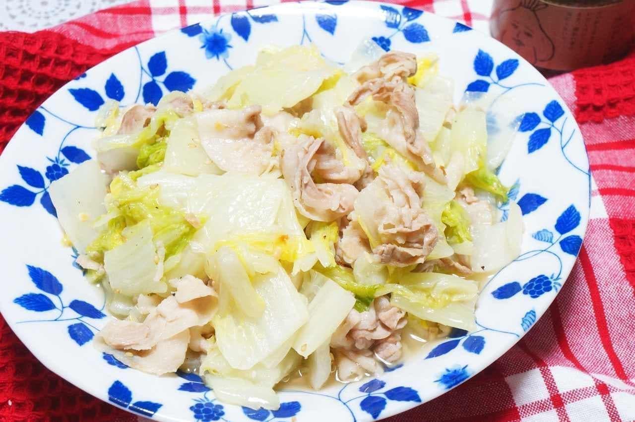 小田原屋漬物店「食べる和風ごま油」を使った豚バラ白菜炒め