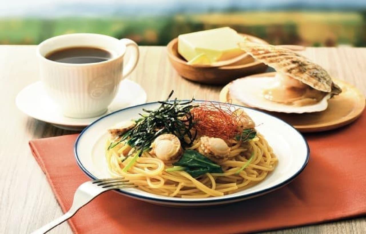 カフェ・ド・クリエ「パスタ 北海道産ホタテのバター醤油」