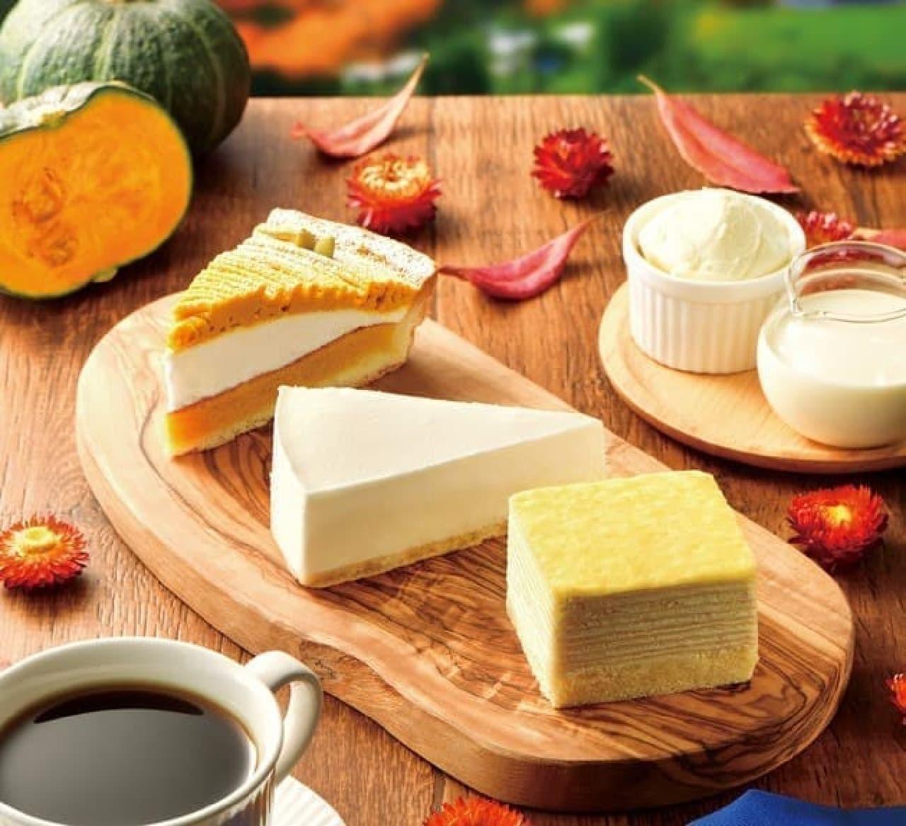 カフェ・ド・クリエ「北海道産クリームチーズケーキ」「もっちりミルクレープ~北海道産 生クリーム使用~」「かぼちゃのタルト」