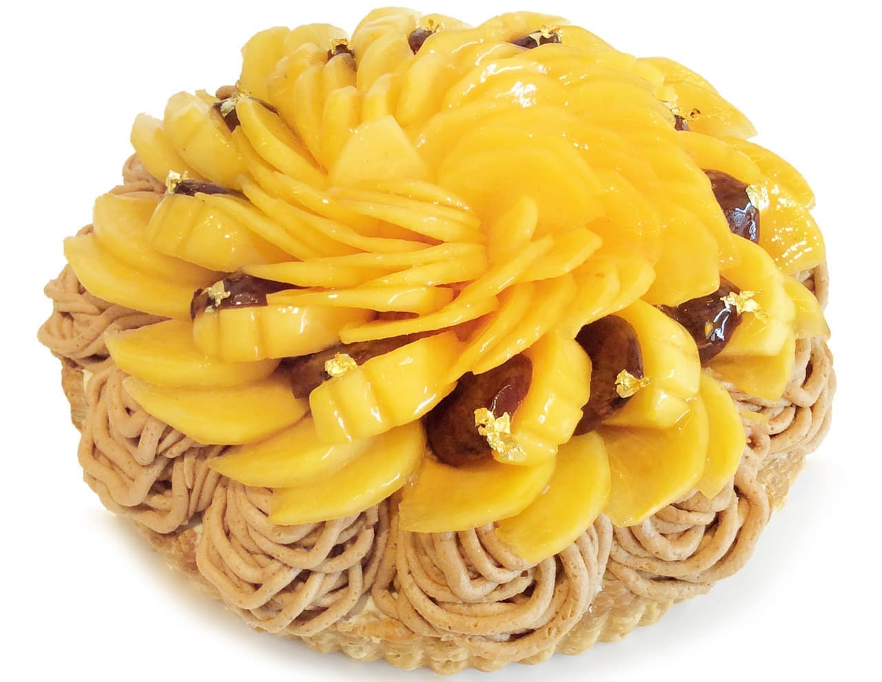 カフェコムサに福岡県産の柿「秋王」のケーキ
