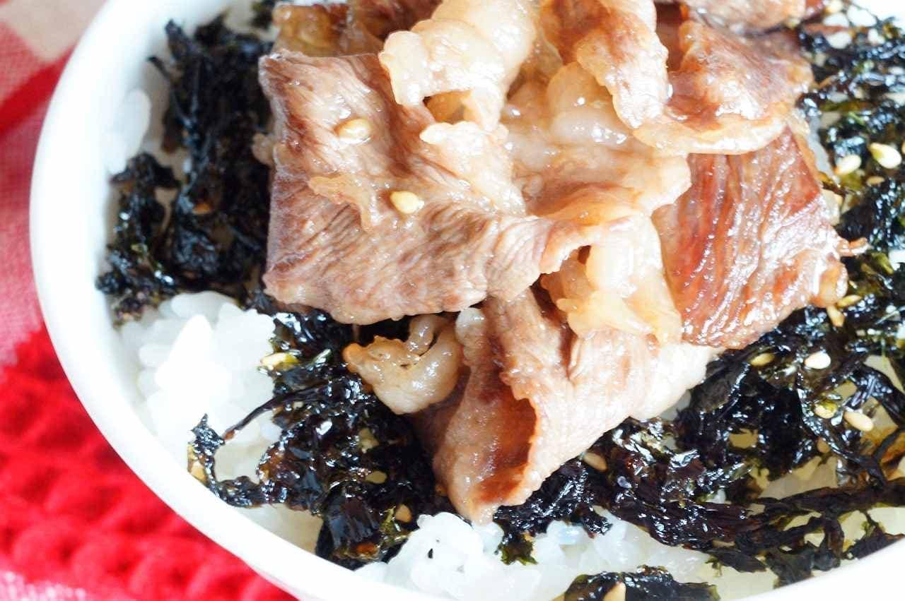 「牛角韓国味付のりフレーク」と「牛角醤油だれ」で作った「カルビ専用ごはん」