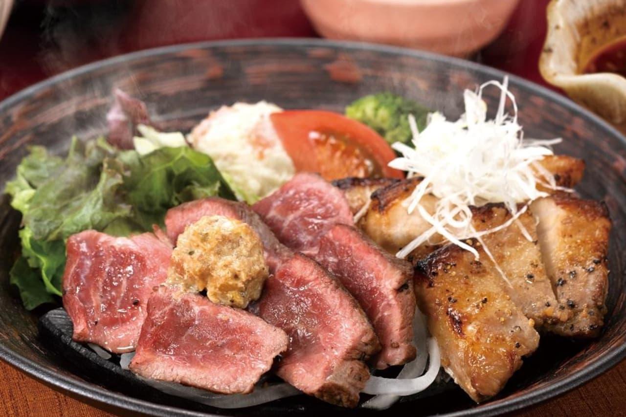 大戸屋「牛ミスジと四元豚の醤油麹漬け炭火焼き定食」