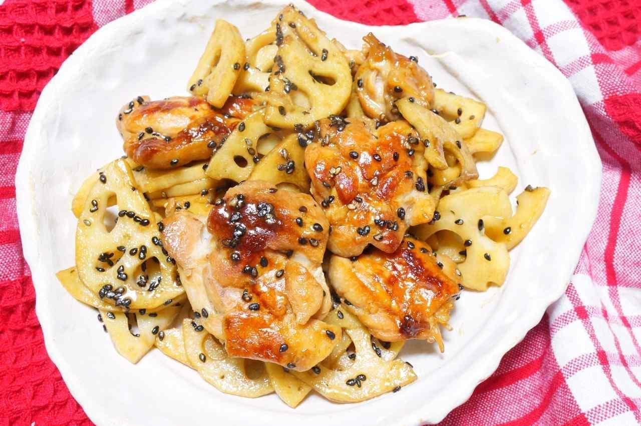 れんこんと鶏肉の照り焼き