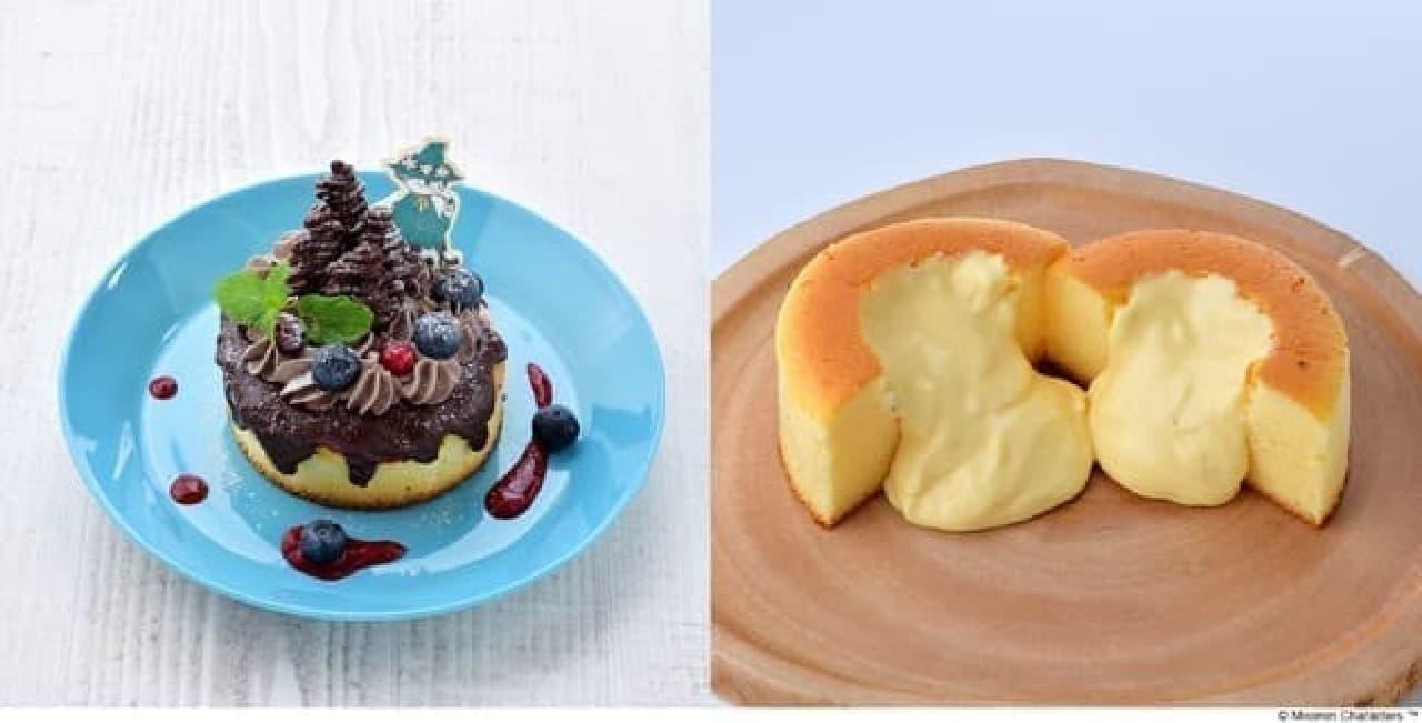 ムーミンカフェ「スナフキン 森のチョコレートスフレパンケーキ」