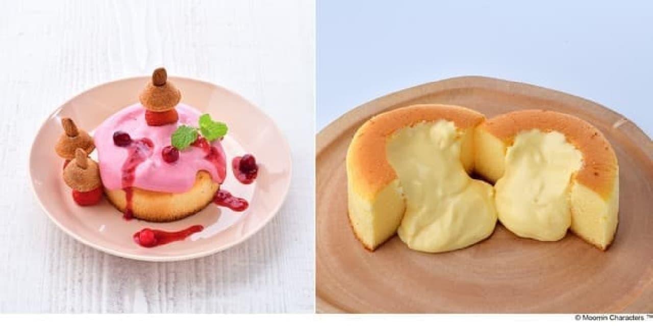 ムーミンカフェ「リトルミイ たっぷり木いちごソーススフレパンケーキ」