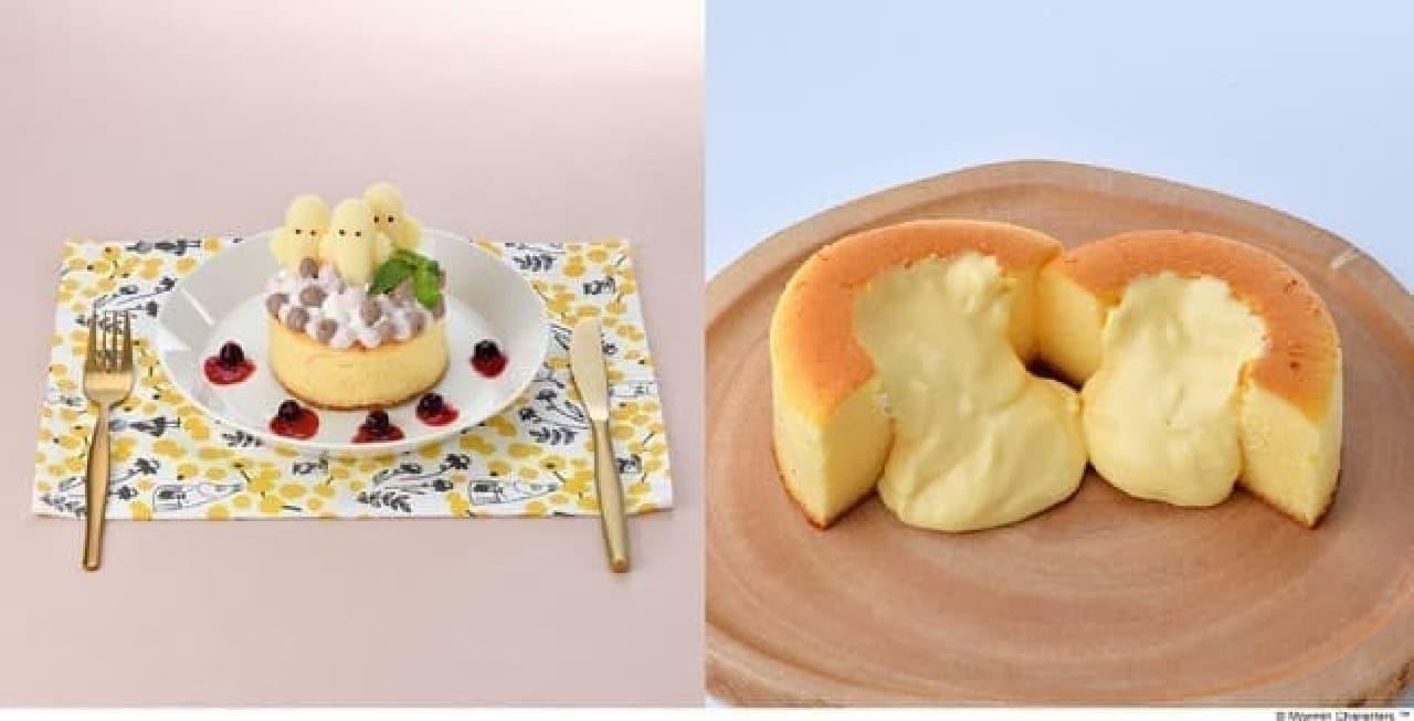 ムーミンカフェ「ニョロニョロ お祝いスフレパンケーキ」