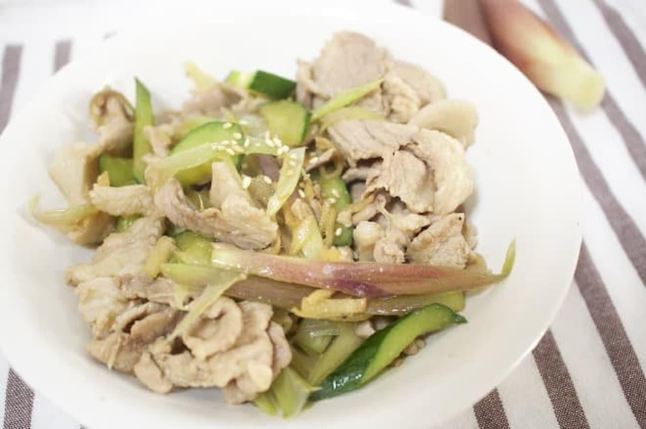 レシピ「ミョウガときゅうりの豚肉炒め」