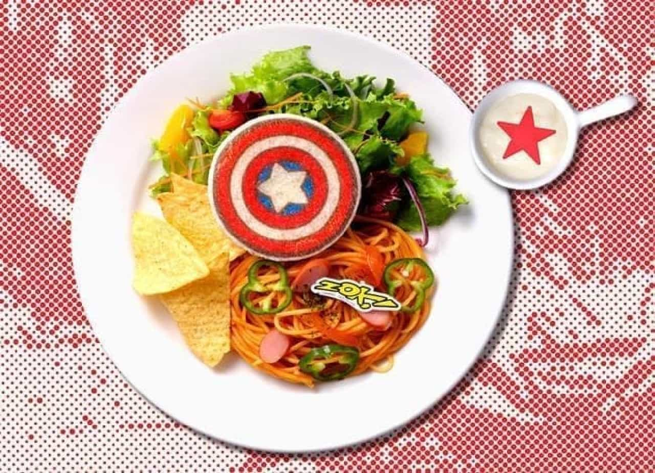 「MARVEL」cafe produced by OH MY CAFEの『キャプテン・アメリカ』アメリカン☆トマトパスタ