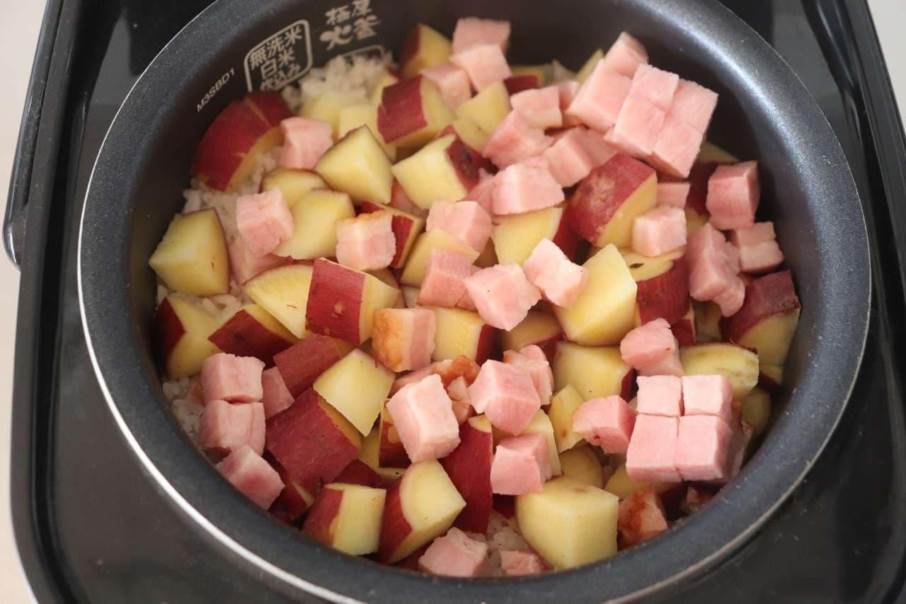 さつまいもとベーコンの炊き込みご飯