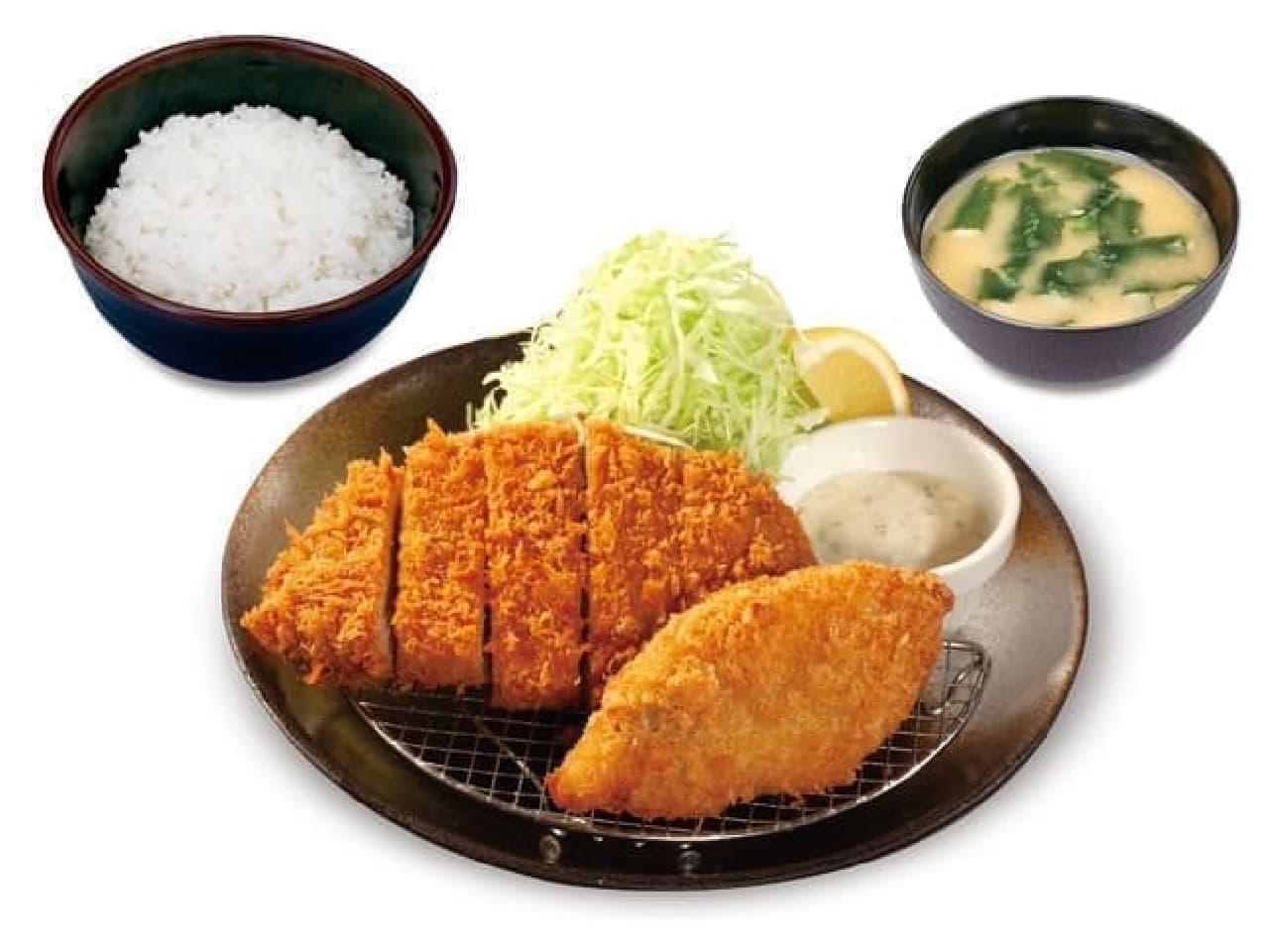 松のや「ロースかつ&サーモンフライ定食」