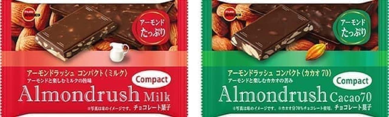 「アーモンドラッシュコンパクトミルク」と「アーモンドラッシュコンパクトカカオ70」