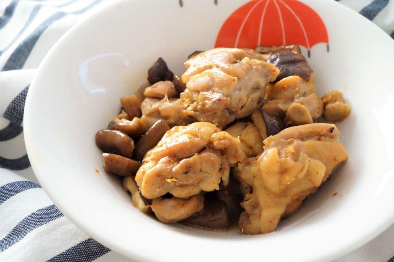 鶏肉としいたけの七味炒め