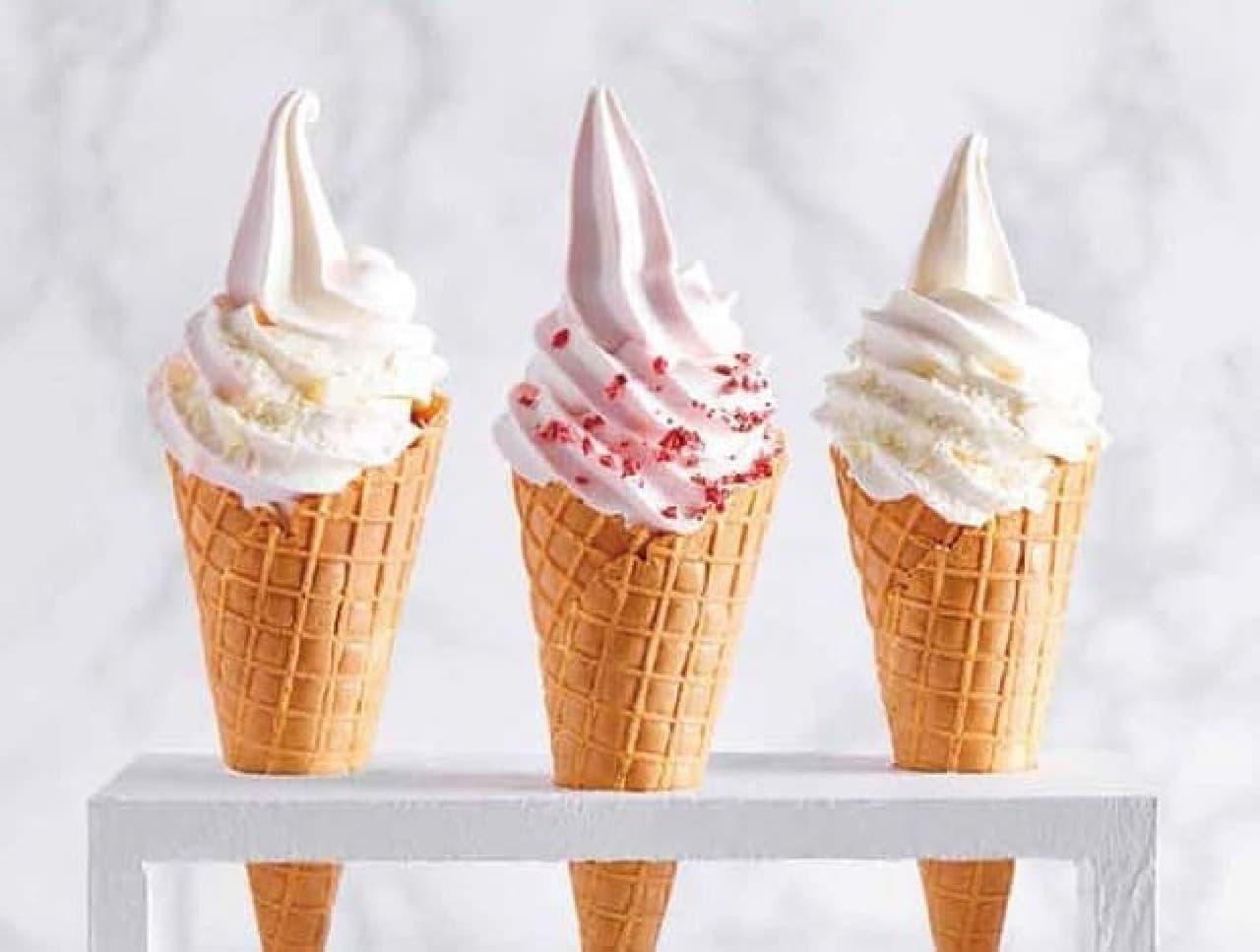 ジェラート ピケ カフェ「いちごカスタードソフトクリーム」「リッチミルクソフトクリーム」「ミックスソフトクリーム」