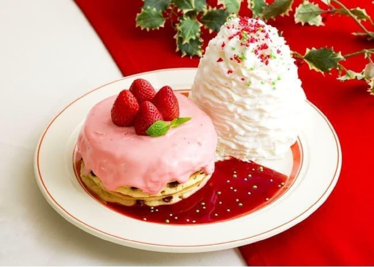 エッグスンシングス「苺のクリスマスパンケーキ」