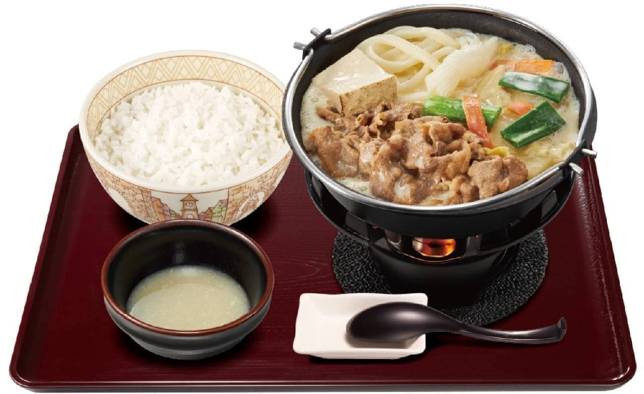 すき家の「豆乳牛鍋定食」