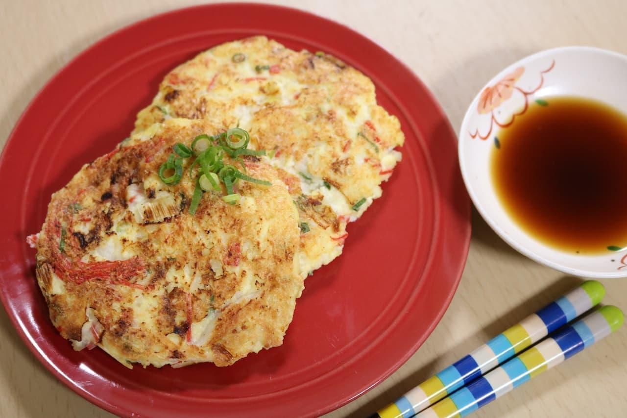 レシピ「豆腐とカニカマのふんわり焼き」