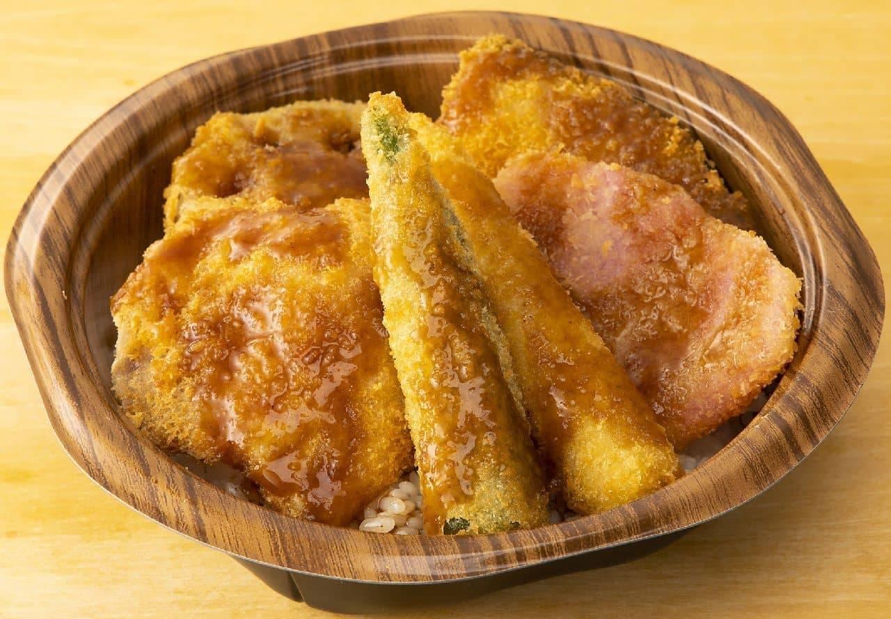 ローソン「野菜カツ丼(串カツ田中ソース使用)」