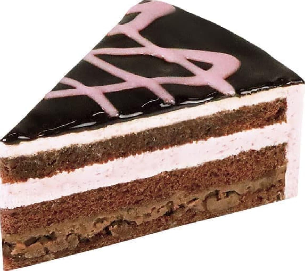 不二家「熊本県産ゆうべに苺のザクザクチョコケーキ」