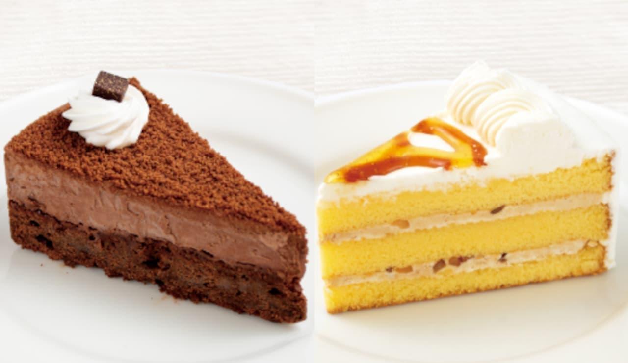 喫茶室ルノアール「ハニーナッツショートケーキ」「リッチバターチョコレートケーキ」