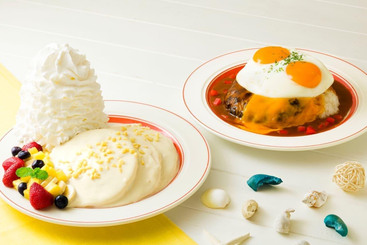 エッグスンシングス「ハワイアンマカダミアナッツパンケーキ」「ビッグアイランドロコ・モコ」