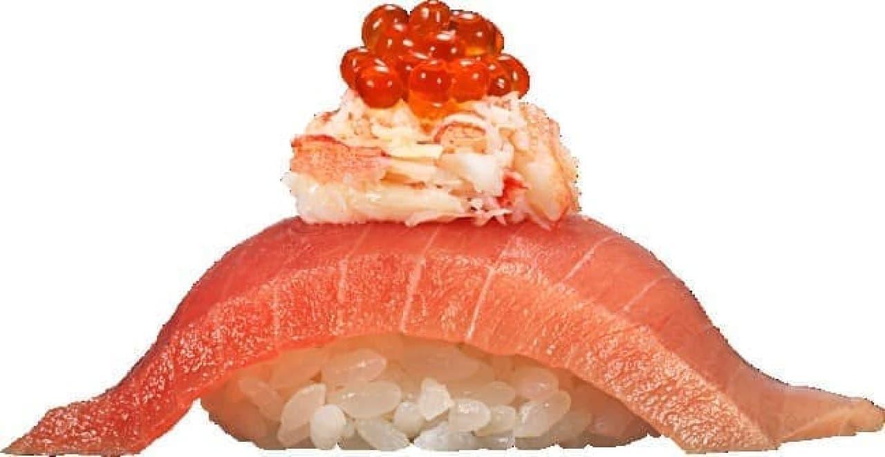 かっぱ寿司 つかみ寿司「中とろと本ずわい蟹とイクラ」「中とろと本ずわい蟹とウニ」