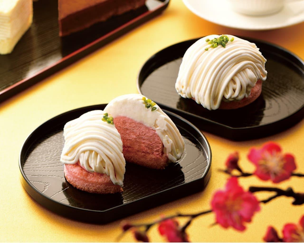 カフェ・ド・クリエ「ホワイトチョコとあまおう苺のモンブラン」