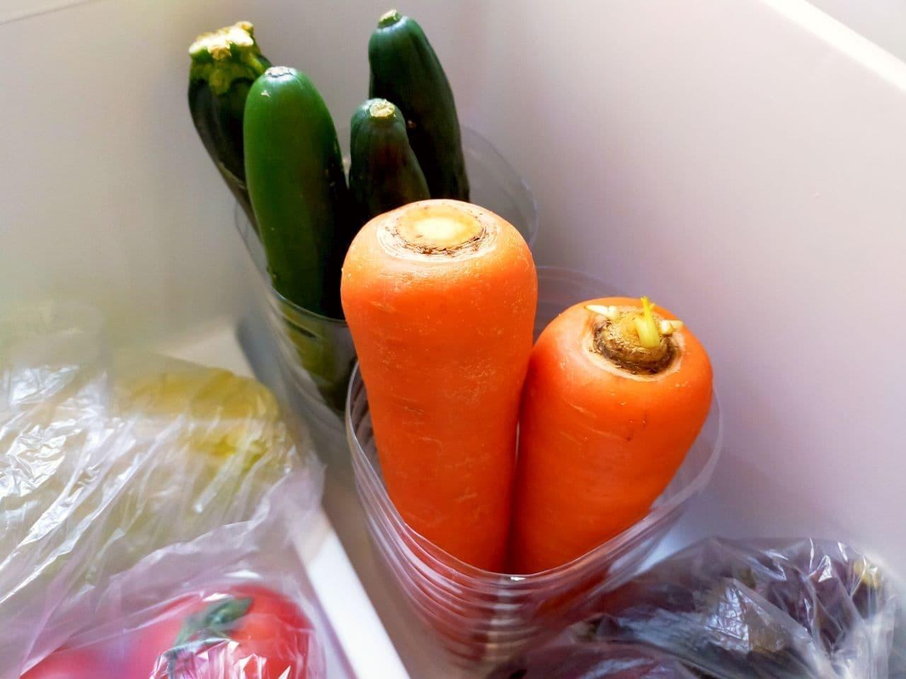 空きペットボトルで野菜をスッキリ収納