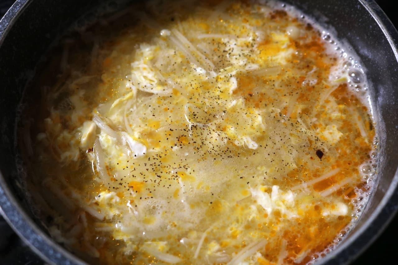 レシピ「キノコともやしの酸辣湯」