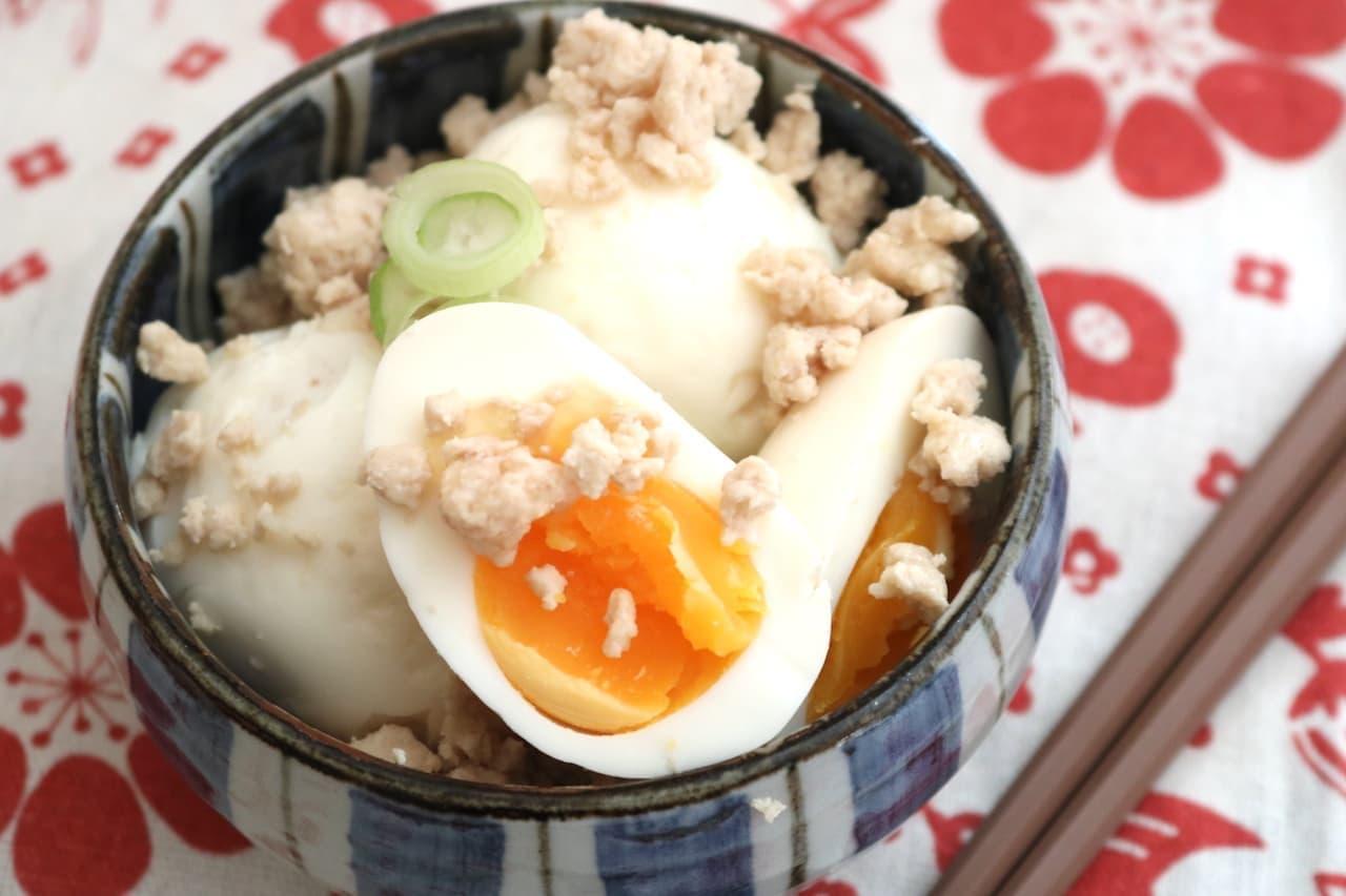 レシピ「鶏そぼろ煮卵」