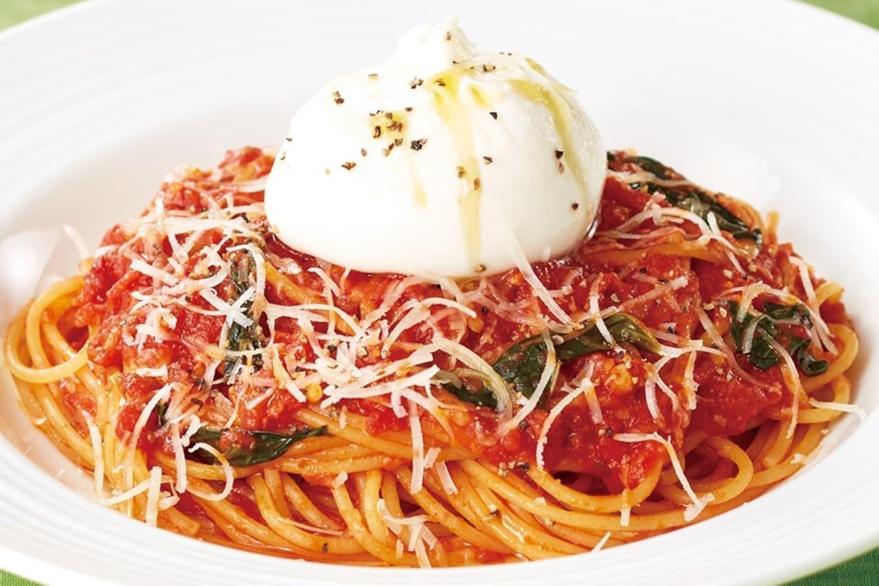 ココス 「丸ごとブラータのトマトソーススパゲッティ」