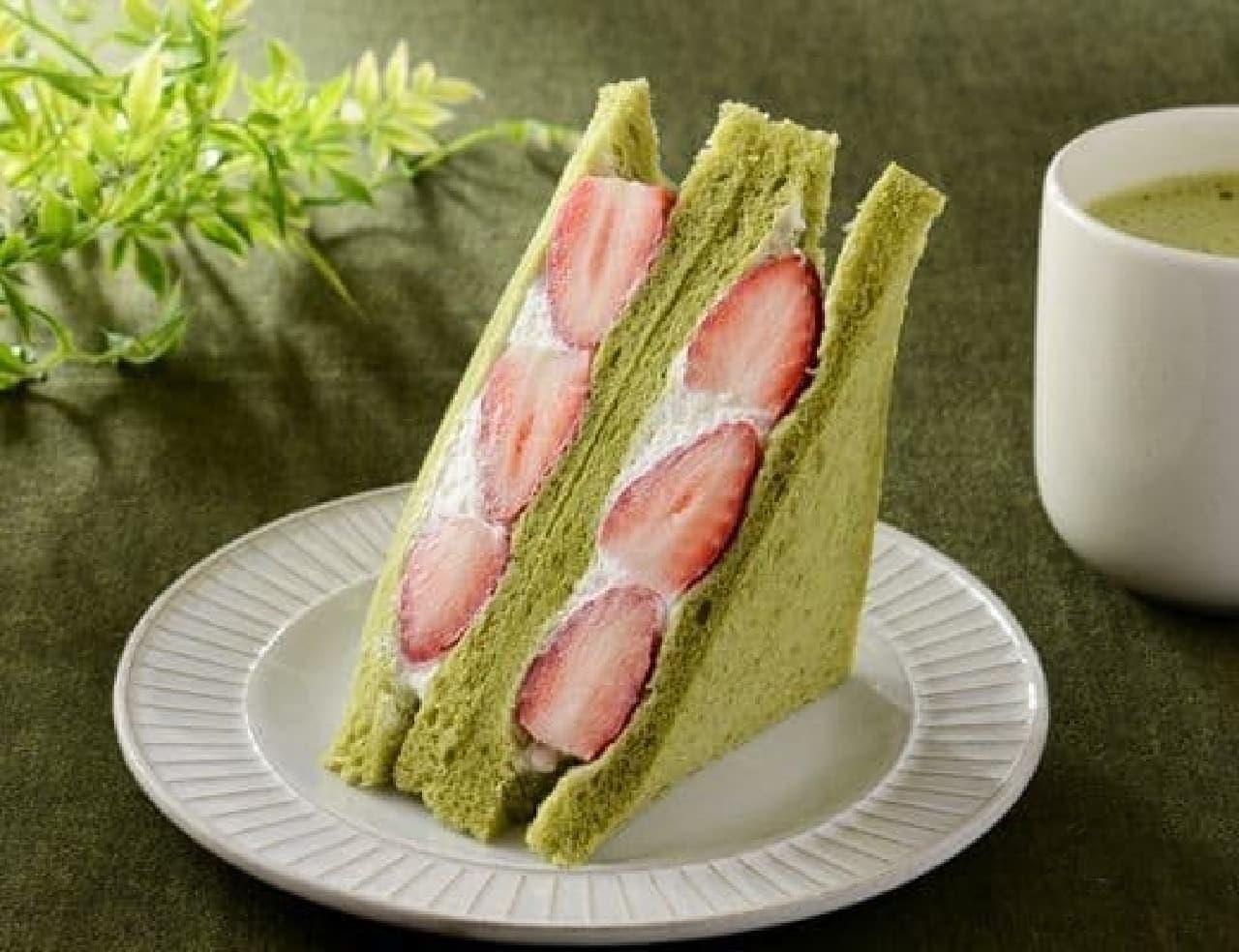 ローソン「いちごミルクサンド ~抹茶入り食パン使用~」
