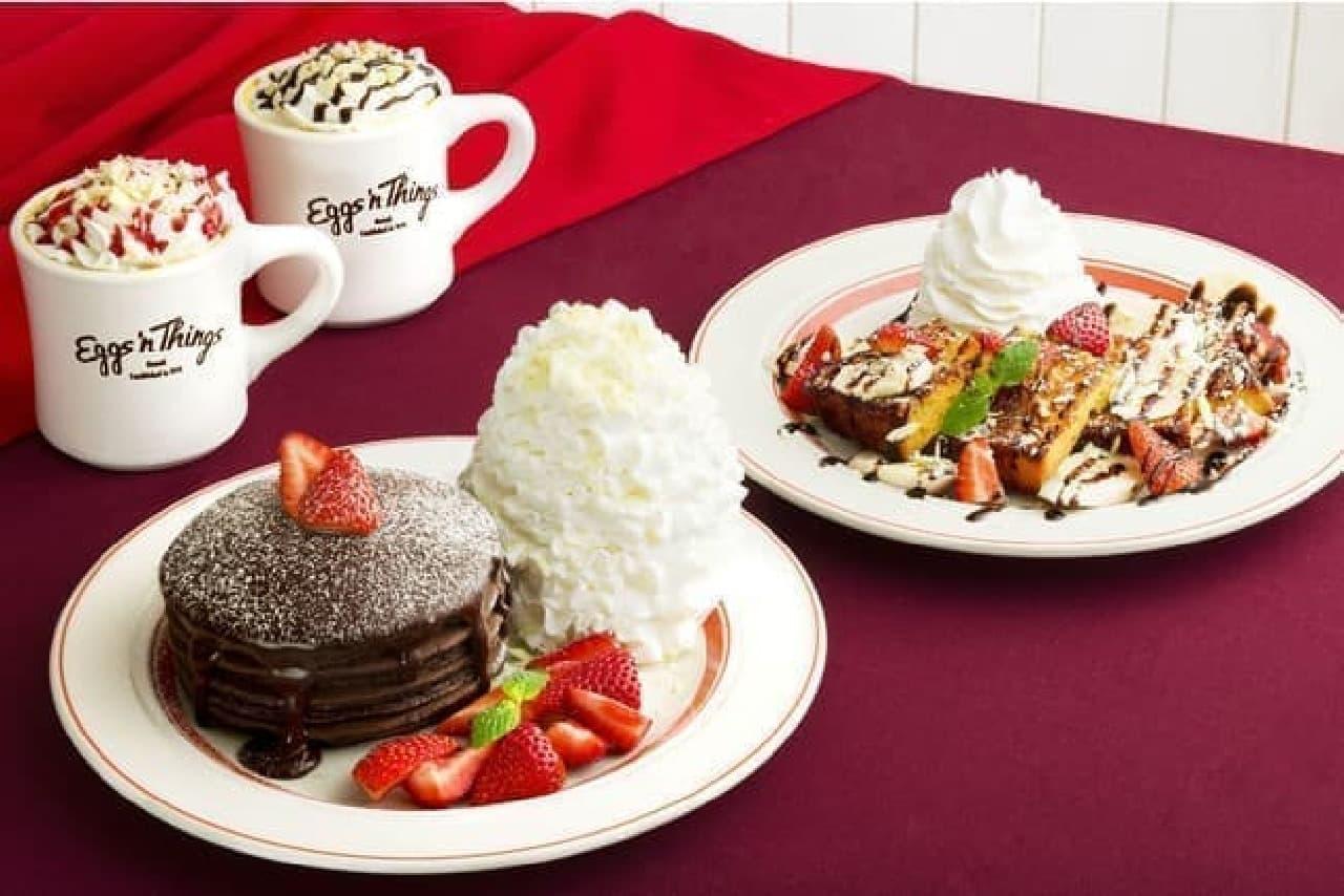 エッグスンシングス「とろけるフォンダンショコラパンケーキ」「ストロベリー&バナナチョコ・フレンチトースト」