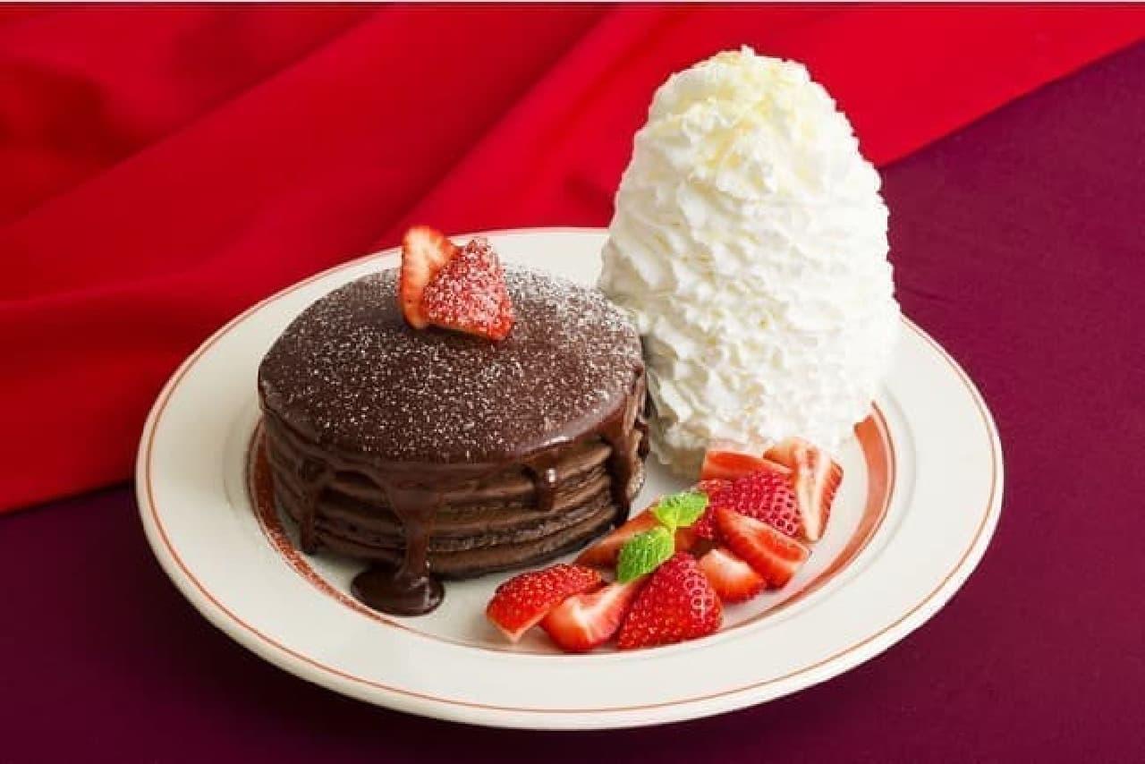 エッグスンシングス「とろけるフォンダンショコラパンケーキ」