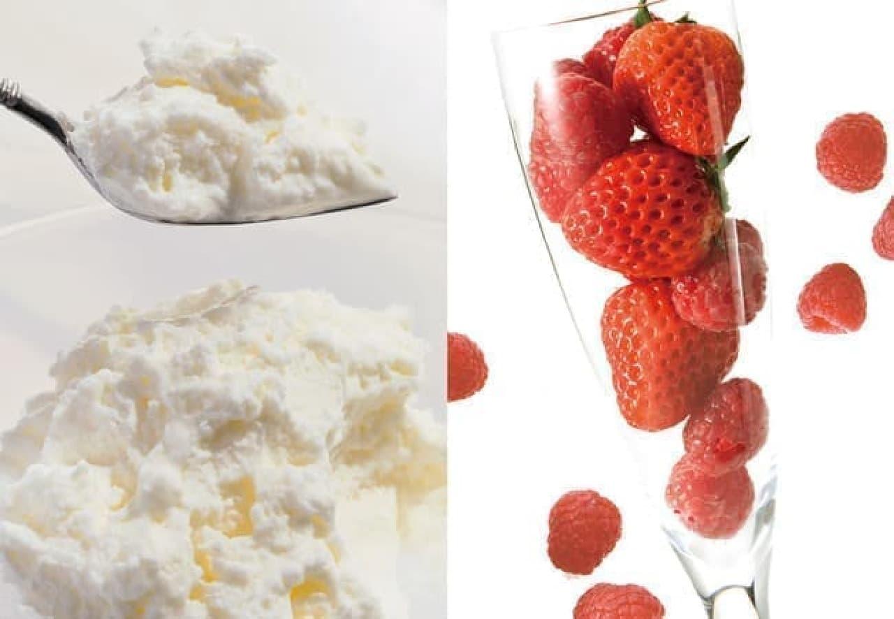 銀のぶどう「チーズケーキ かご盛り白らら<春いちご>」