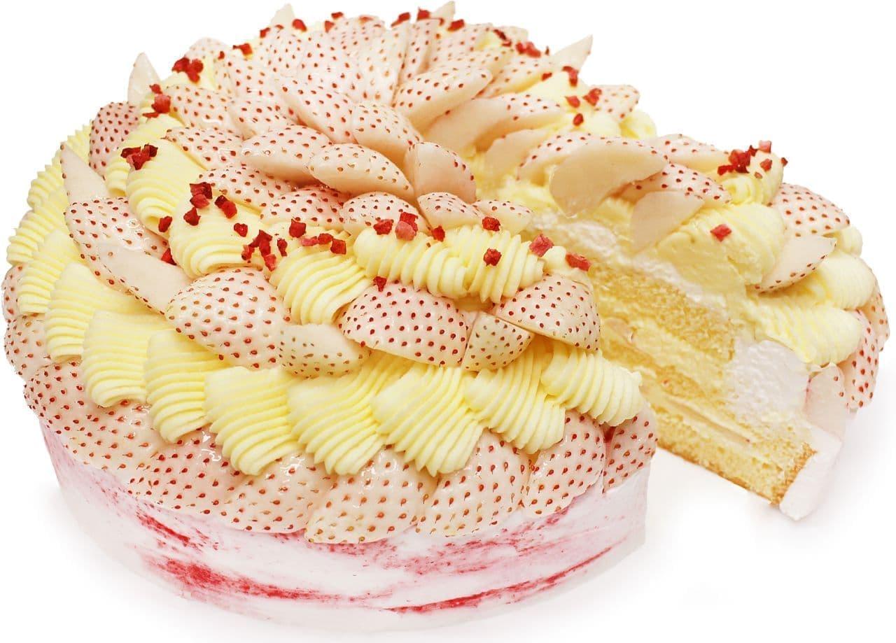 カフェコムサ「白いちごとカスタードクリームのショートケーキ」