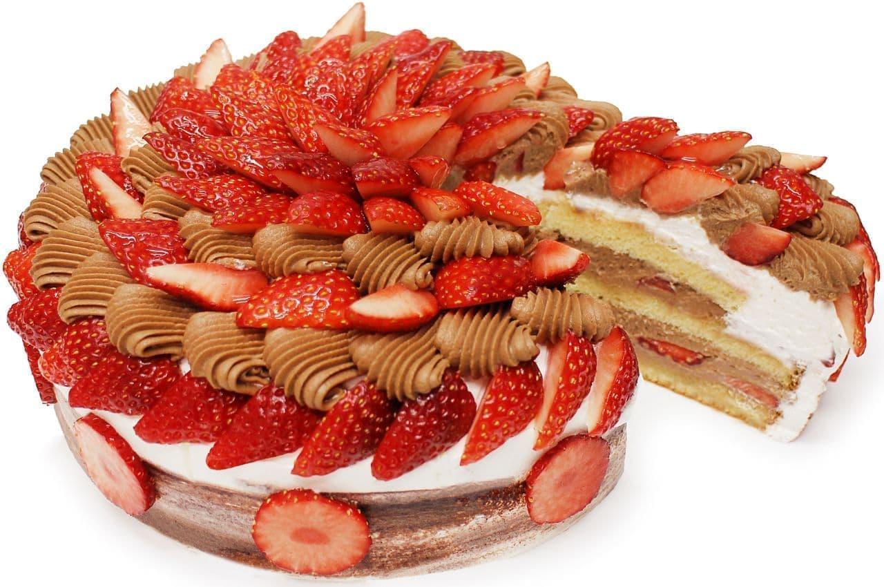 カフェコムサ「いちごとチョコカスタードクリームのショートケーキ」