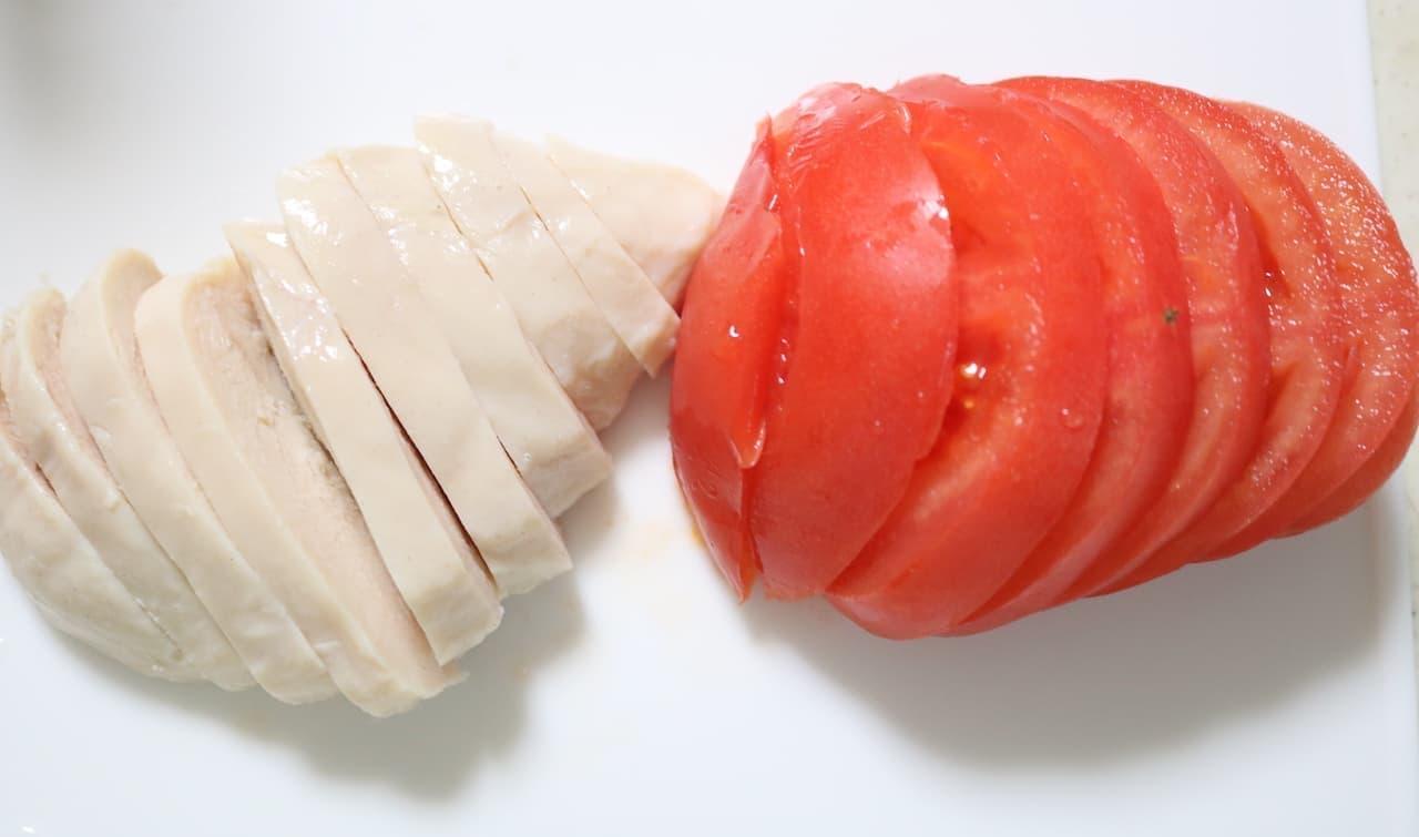 レシピ「サラダチキンカプレーゼ」
