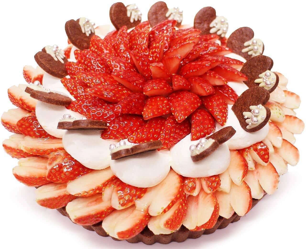 カフェコムサ「『恋みのり』いちごとラズベリームースのチョコケーキ」